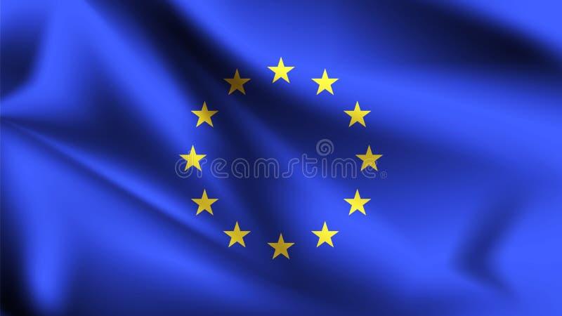 Drapeau d'Union europ?enne soufflant dans le vent Une partie d'une s?rie Drapeau de ondulation d'Union europ?enne illustration stock