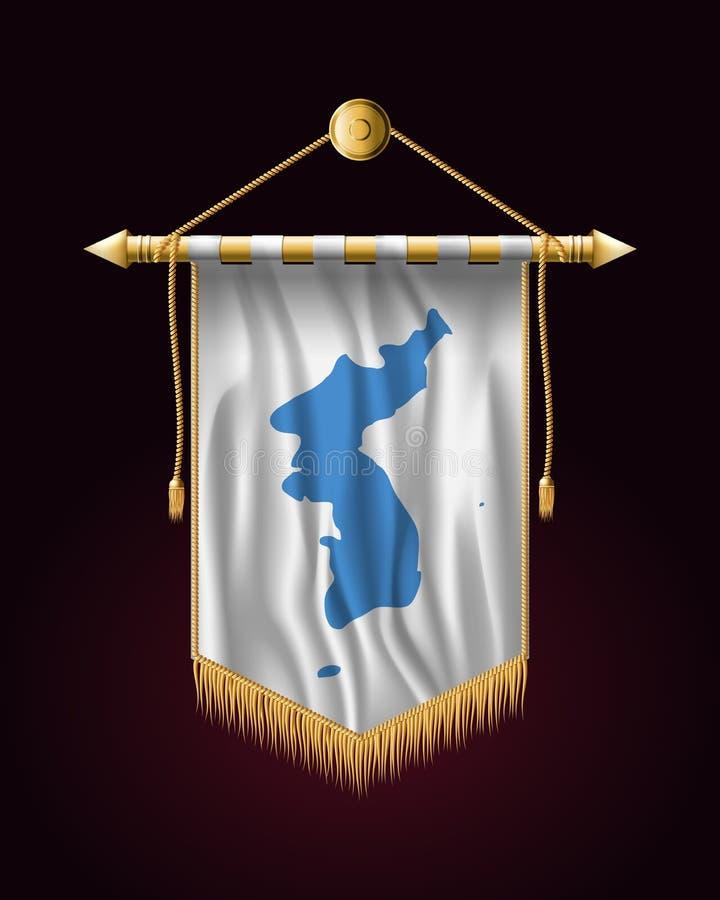 Drapeau d'United Korea Bannière verticale de fête Tentures illustration stock