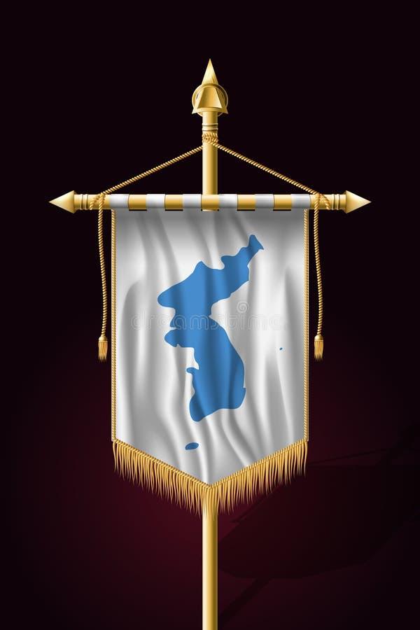Drapeau d'United Korea Bannière verticale de fête Tentures illustration de vecteur