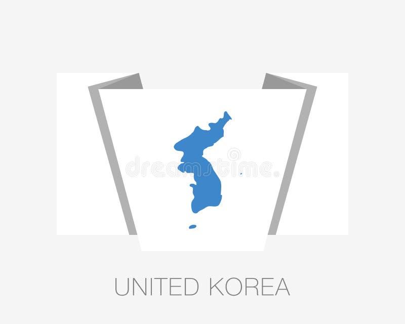 Drapeau d'United Korea Drapeau de ondulation d'icône plate avec le nom du pays illustration libre de droits