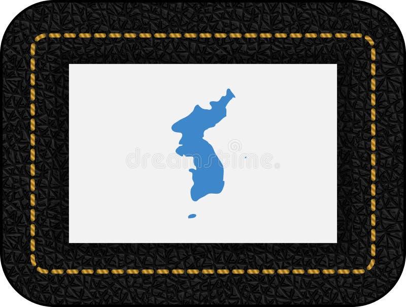 Drapeau d'United Korea Icône de vecteur sur le contexte en cuir noir illustration stock