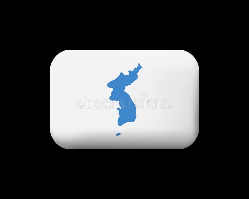 Drapeau d'United Korea Icône et bouton emmêlés de vecteur rectangulaire illustration de vecteur