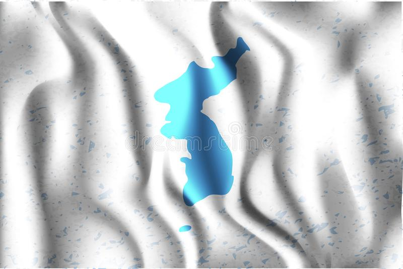 Drapeau d'United Korea Icône rectangulaire Effet de ondulation illustration de vecteur