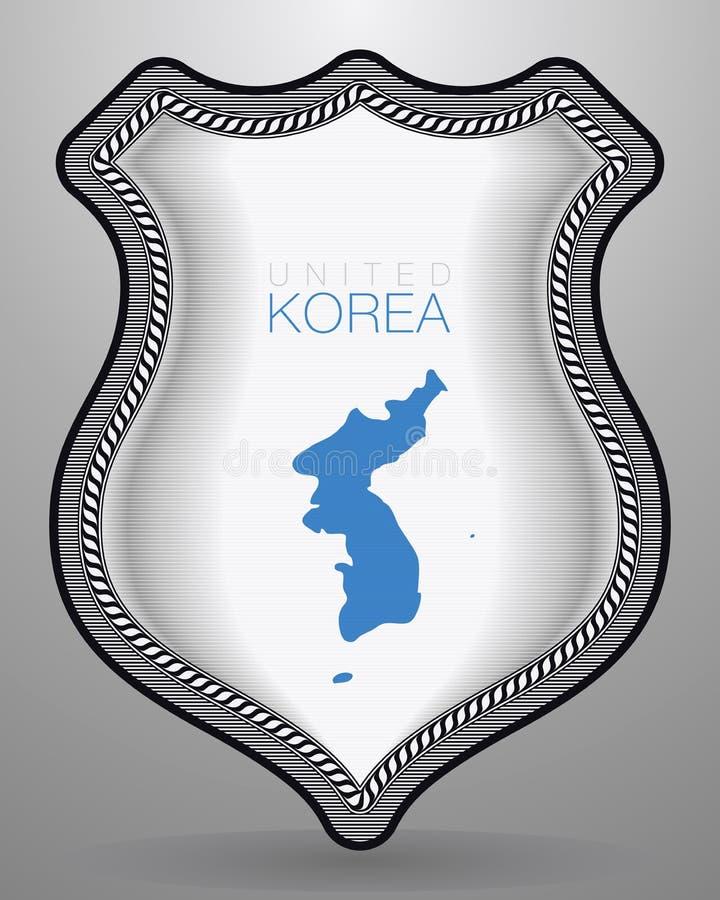Drapeau d'United Korea Insigne et icône de vecteur illustration de vecteur