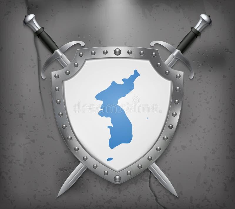 Drapeau d'United Korea Le bouclier avec le drapeau national Deux croisés illustration libre de droits