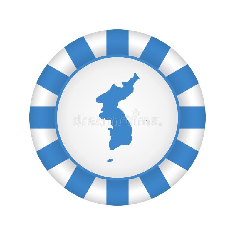 Drapeau d'United Korea Métal et icône ronde en verre de vecteur illustration de vecteur
