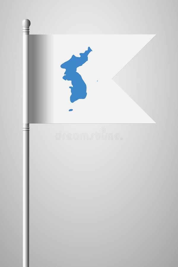 Drapeau d'United Korea Drapeau national sur le mât de drapeau Illust d'isolement illustration de vecteur
