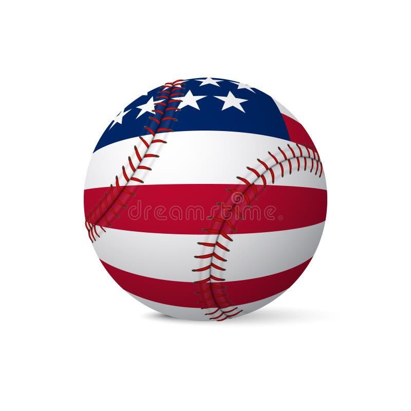 Drapeau de base-ball des Etats-Unis d'isolement sur le fond blanc illustration stock