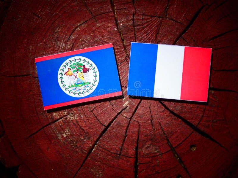 Drapeau de Belize avec le drapeau français sur un tronçon d'arbre d'isolement images stock