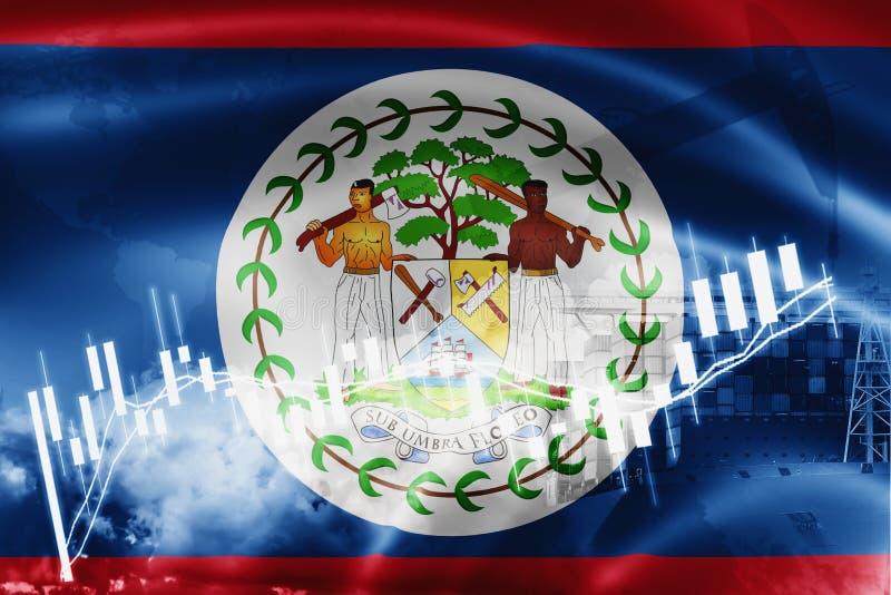 Drapeau de Belize, marché boursier, économie d'échange et commerce, production de pétrole, navire porte-conteneurs dans l'exporta illustration stock