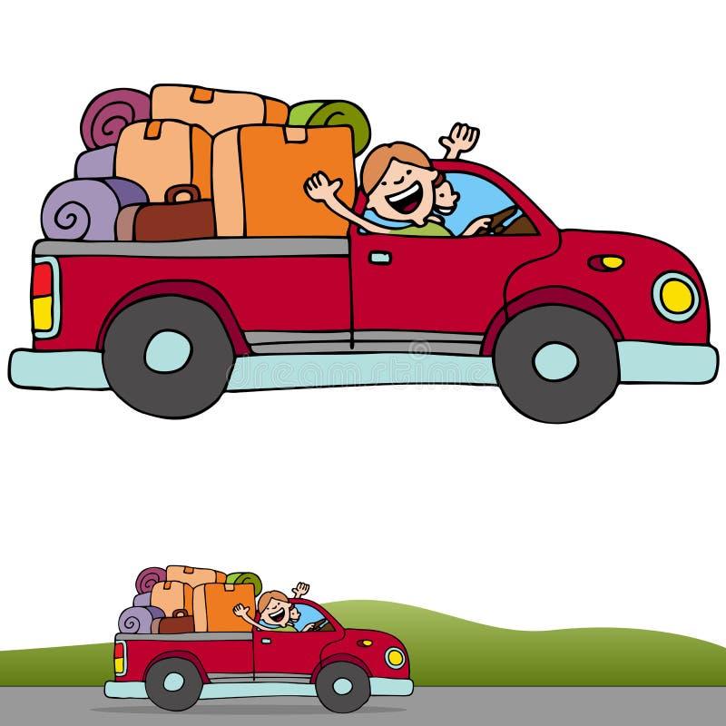 Drapeau de camion de voyage par la route illustration stock