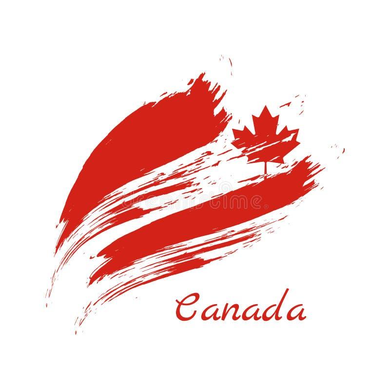 Drapeau de Canada, brosse peinte, illustration de vecteur illustration libre de droits