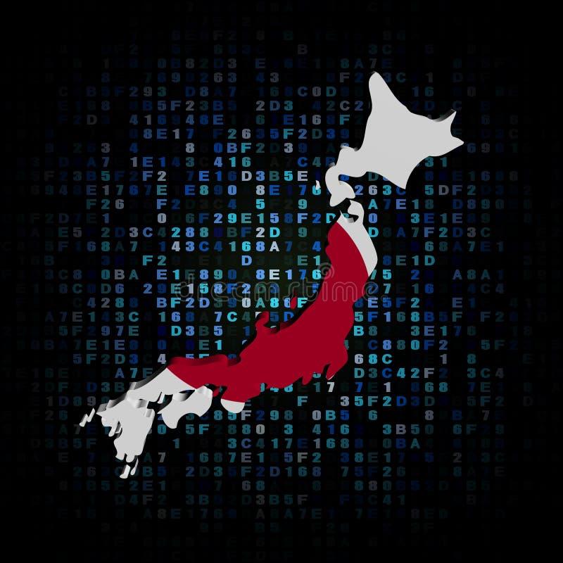 Drapeau de carte du Japon sur l'illustration de code de sortilège illustration de vecteur