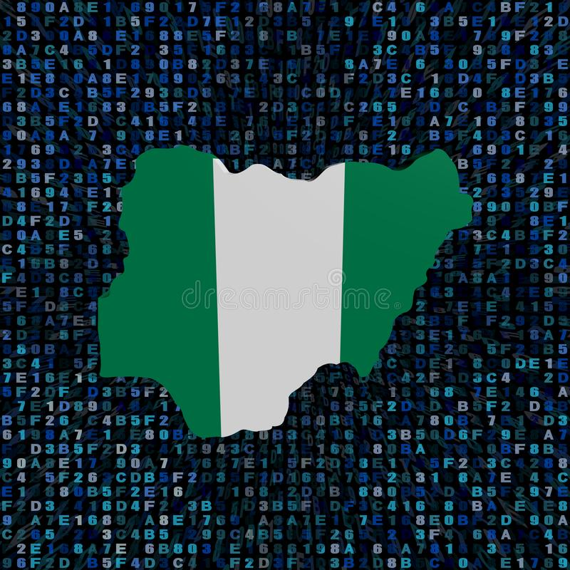 Drapeau de carte du Nigéria sur l'illustration de code de sortilège illustration stock