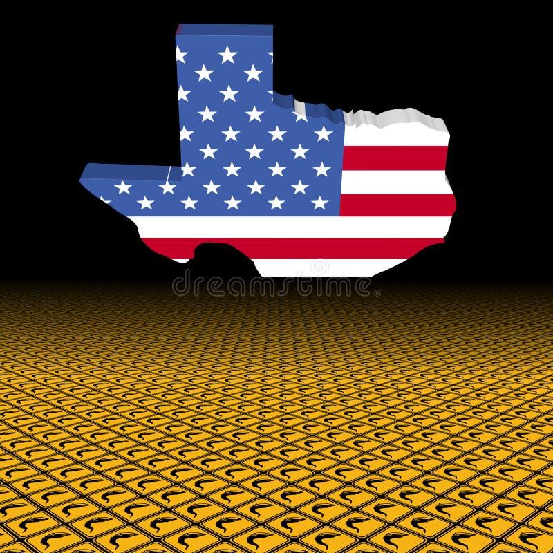 Drapeau de carte du Texas avec l'illustration de premier plan de panneau d'avertissement de tornade illustration libre de droits