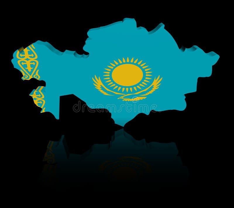 Drapeau de carte de Kazakhstan avec l'illustration de réflexion illustration stock