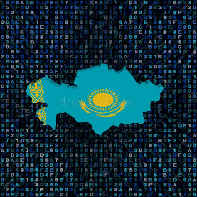Drapeau de carte de Kazakhstan sur l'illustration de code de sortilège illustration stock