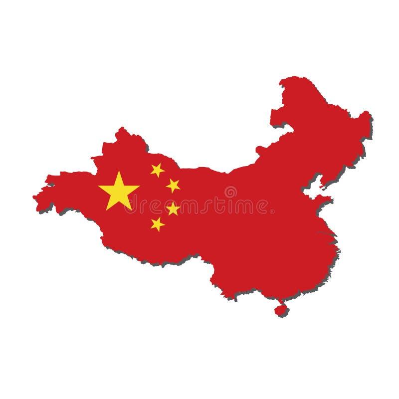 Drapeau de carte de la Chine, carte de la Chine avec le vecteur de drapeau illustration de vecteur