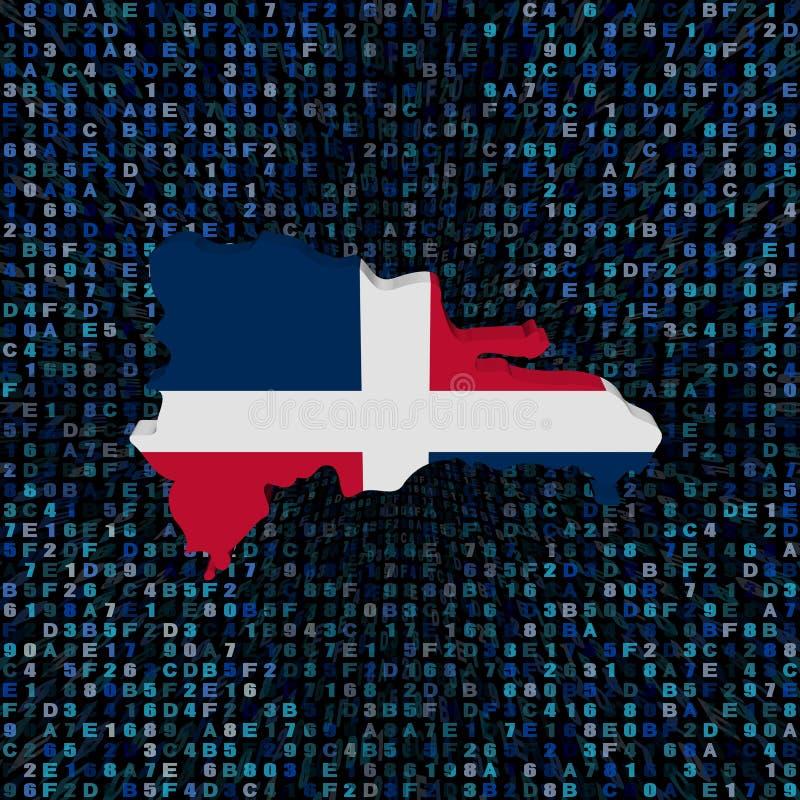 Drapeau de carte de la République Dominicaine sur l'illustration de code de sortilège illustration de vecteur