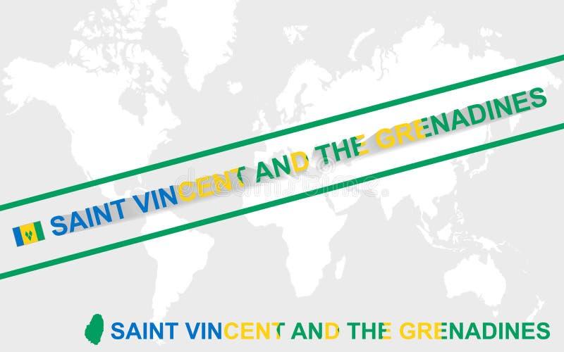 Drapeau de carte de Saint-Vincent-et-les-Grenadines et illustration des textes illustration stock
