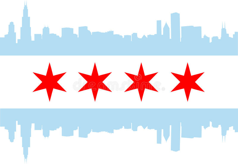 Drapeau de Chicago illustration stock