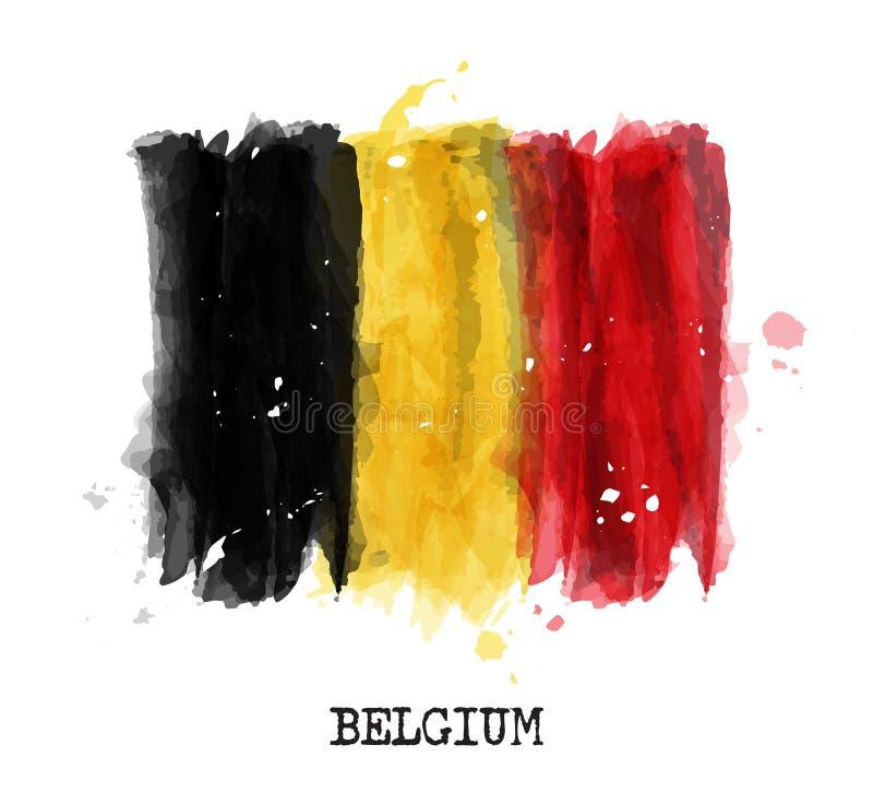 Drapeau de conception de peinture d'aquarelle de la Belgique Vecteur illustration de vecteur