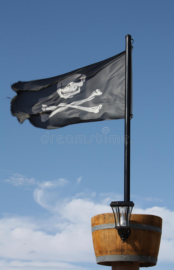 Drapeau de crâne et de pirate d'os croisés photographie stock libre de droits