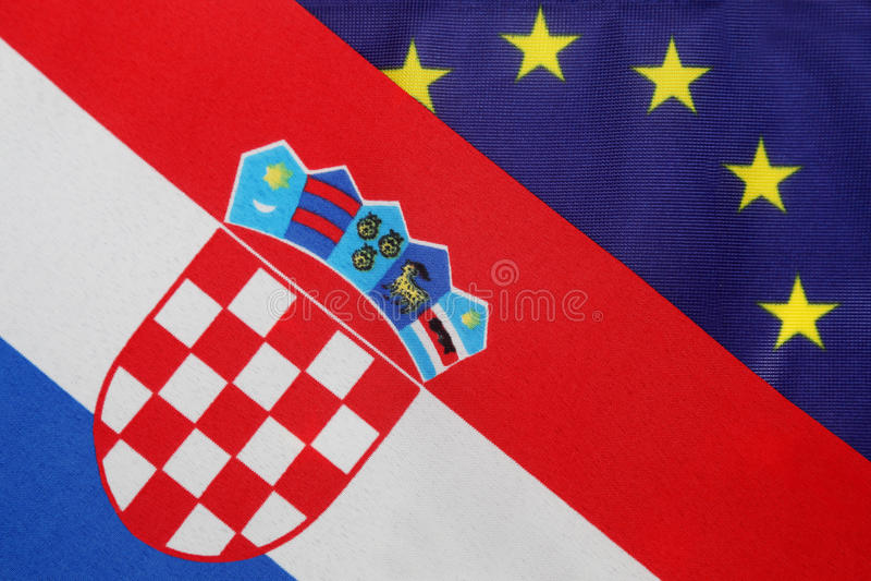 Drapeau de Croate et d'Eu photos libres de droits