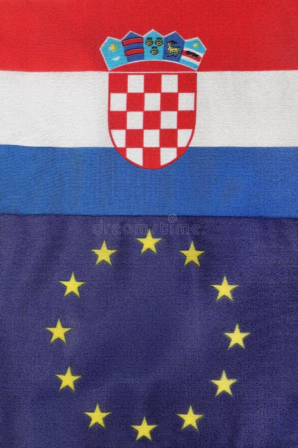 Drapeau de Croate et d'Eu ensemble image libre de droits