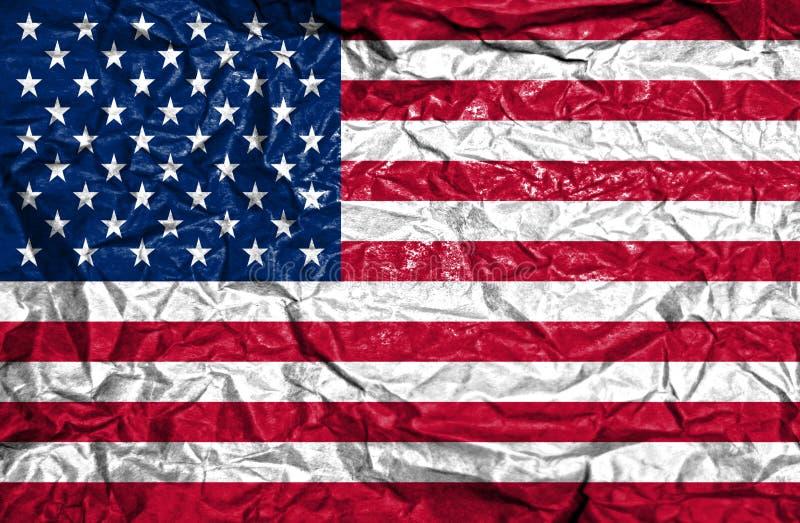 Drapeau de cru des Etats-Unis d'Amérique sur le vieux fond de papier chiffonné image stock
