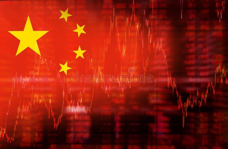 Drapeau de diagramme d'actions de tendance à la baisse de la Chine illustration libre de droits