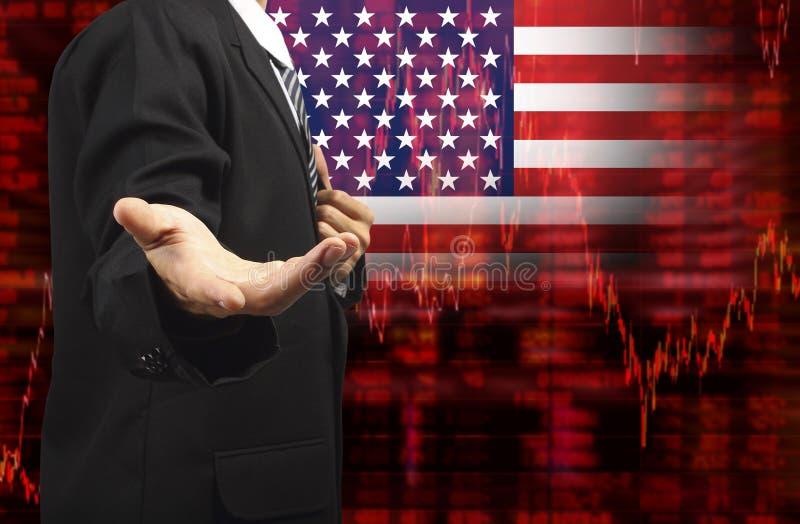 Drapeau de diagramme d'actions de tendance à la baisse des Etats-Unis avec la main vide d'affaires illustration de vecteur