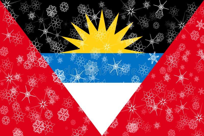 Drapeau de flocons de neige d'hiver de l'Antigua-et-Barbuda illustration libre de droits