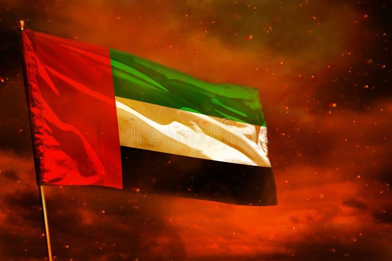 Drapeau de flottement des Emirats Arabes Unis sur le ciel rouge cramoisi avec le fond de piliers de fumée Préoccupe le concept illustration de vecteur