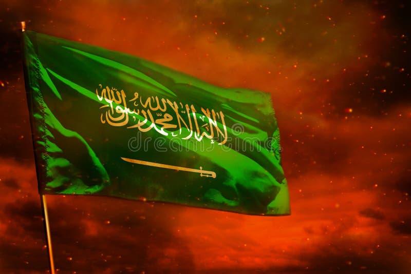 Drapeau de flottement de l'Arabie Saoudite sur le ciel de rouge cramoisi avec le fond de piliers de fumée Préoccupe le concept illustration stock