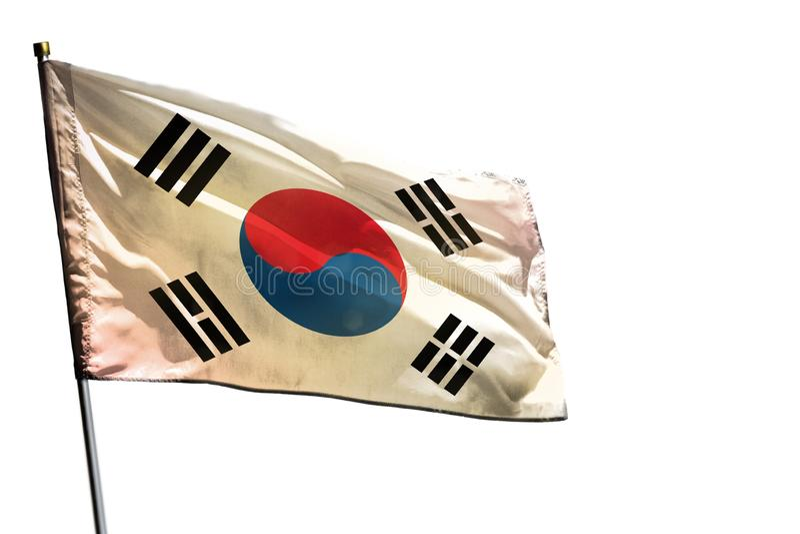 Drapeau de flottement de la république de Corée Corée du Sud sur le fond blanc clair d'isolement image stock