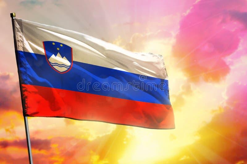 Drapeau de flottement de la Slovénie sur le beau fond coloré de coucher du soleil ou de lever de soleil Bille 3d diff?rente illustration de vecteur