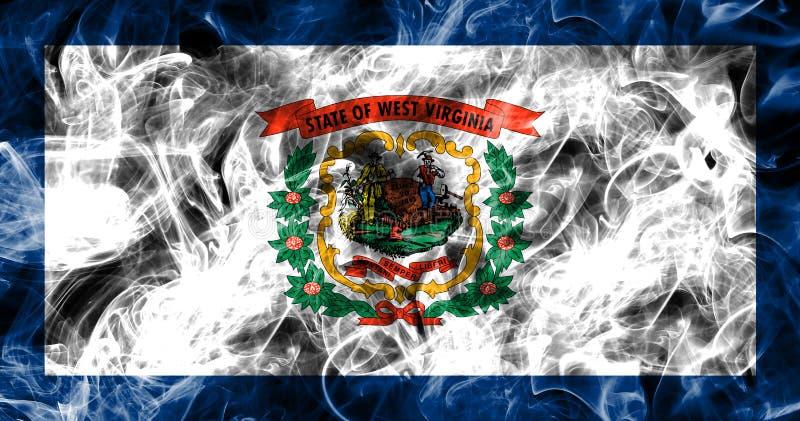 Drapeau de fumée d'état de la Virginie Occidentale, Etats-Unis d'Amérique photographie stock