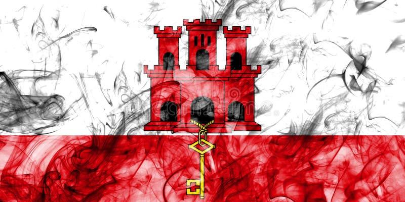 Drapeau de fumée du Gibraltar, territoires d'outre-mer britanniques, drapeau de territoire non autonome de la Grande-Bretagne illustration de vecteur