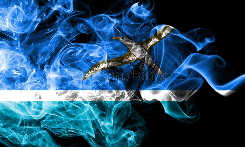 Drapeau de fumée de Midway Islands, drapeau de territoire non autonome des Etats-Unis photos libres de droits