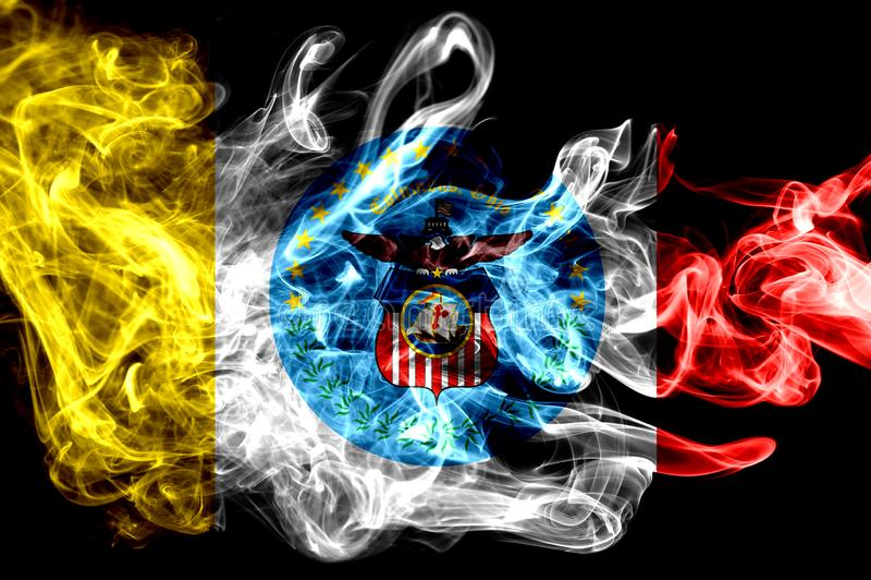 Drapeau de fumée de ville de Columbus, état de l'Ohio, Etats-Unis d'Amérique photographie stock