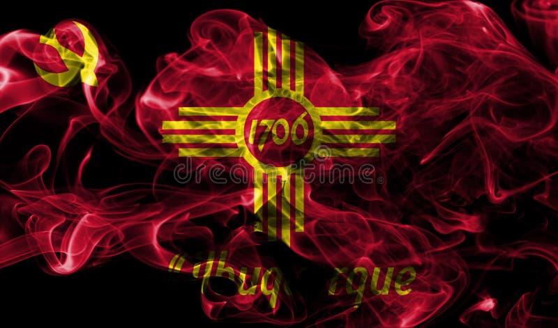 Drapeau de fumée de ville d'Albuquerque, état du Nouveau Mexique, Etats-Unis de photographie stock libre de droits