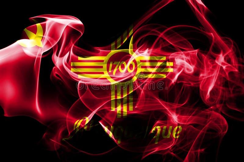 Drapeau de fumée de ville d'Albuquerque, état du Nouveau Mexique, Etats-Unis de images libres de droits