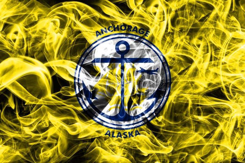 Drapeau de fumée de ville d'Anchorage, état de l'Alaska, Etats-Unis d'Americ image stock