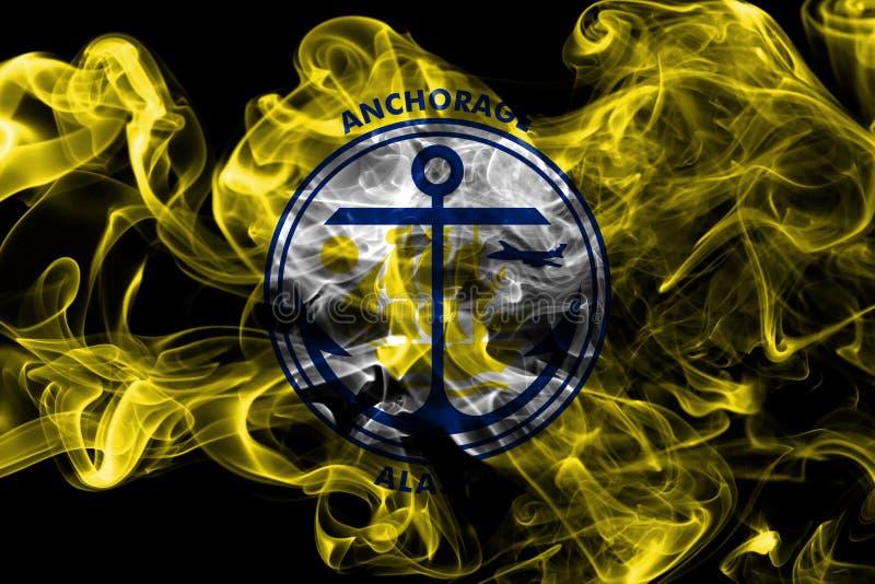Drapeau de fumée de ville d'Anchorage, état de l'Alaska, Etats-Unis d'Americ image libre de droits