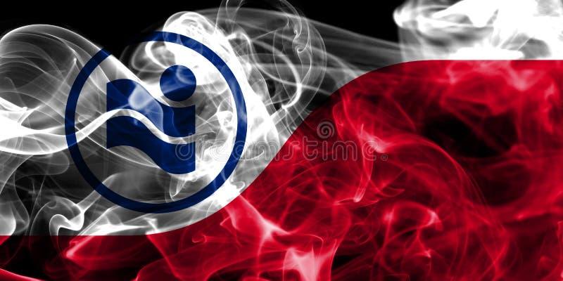 Drapeau de fumée de ville d'Irving, Texas State, Etats-Unis d'Amérique photographie stock