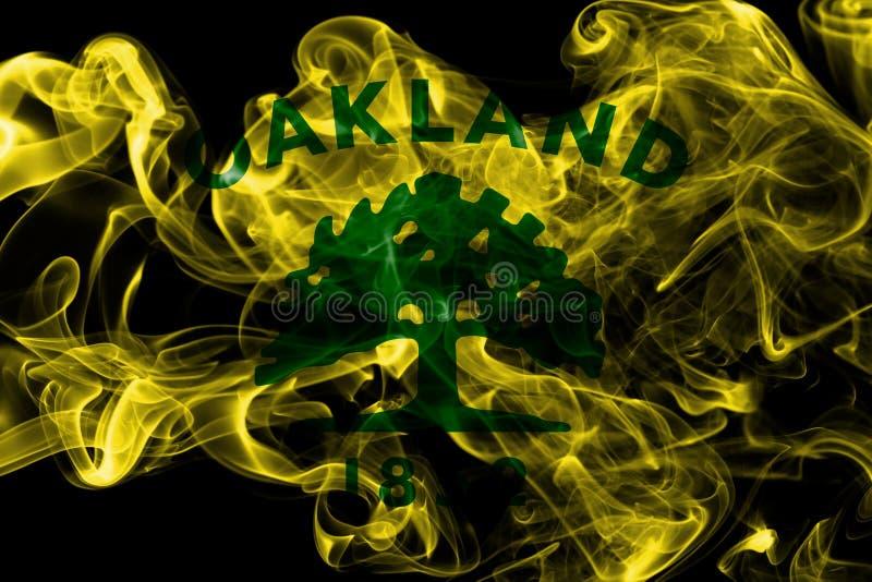 Drapeau de fumée de ville d'Oakland, état de la Californie, Etats-Unis d'Amer photographie stock