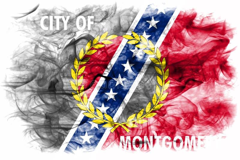 Drapeau de fumée de ville de Montgomery, état de l'Alabama, Etats-Unis d'Amer photographie stock libre de droits