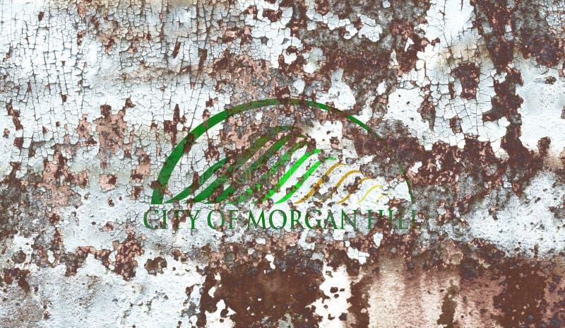 Drapeau de fumée de ville de Morgan Hill, état de la Californie, Etats-Unis de photographie stock libre de droits