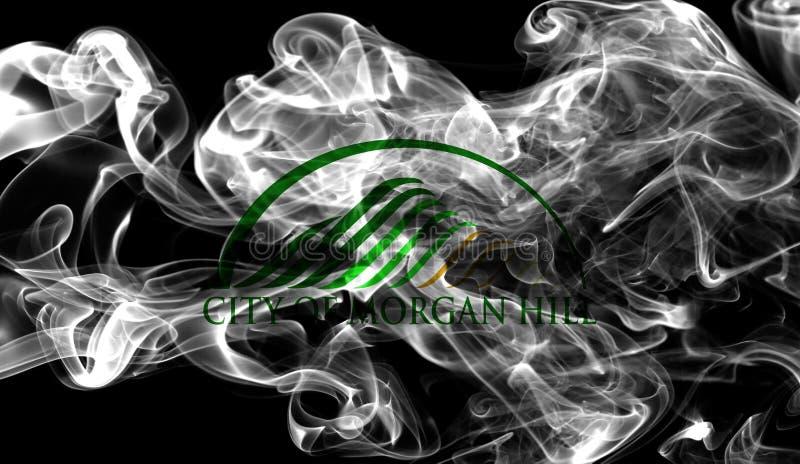 Drapeau de fumée de ville de Morgan Hill, état de la Californie, Etats-Unis de photo stock
